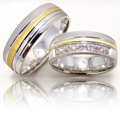 2 Silber 925 Trauringe mit Gravur Eheringe Verlobungsringe Partnerringe 3311-9