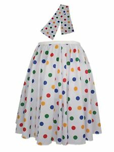 Ladies-22-034-White-amp-Multi-Polka-Dot-Rock-amp-Roll-Skirt-amp-Necktie-Fancy-Dress