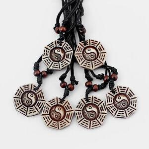 12Pcs-Faux-Yak-Bone-Luck-Chinese-Feng-Shui-Bagua-Yin-Yang-Pendant-Necklace