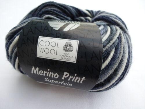 Lana Grossa Merino Print superfein 50g  Fb 753 grau blau weiß