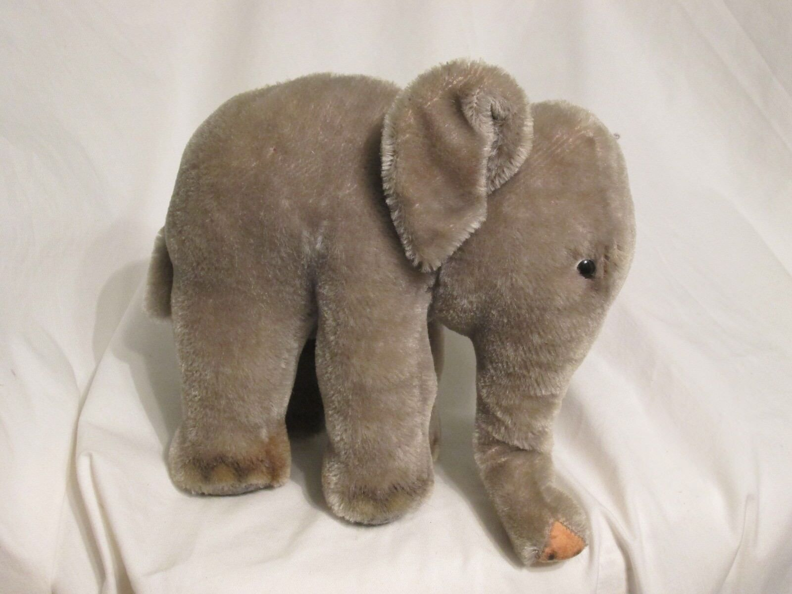 Vintage Steiff Elephant German Mohair Collector  Ear Tag Standing No Tusks  7x7