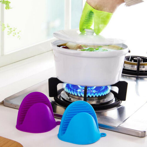 Silicone Hot Pot Holder Oven Glove Mini Oven Mitts Cooking Baking Pinch Grip