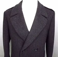 London Fog Mens Double Breasted Coat Size 44 R 100% Wool Charcoal Vintage & Tabs