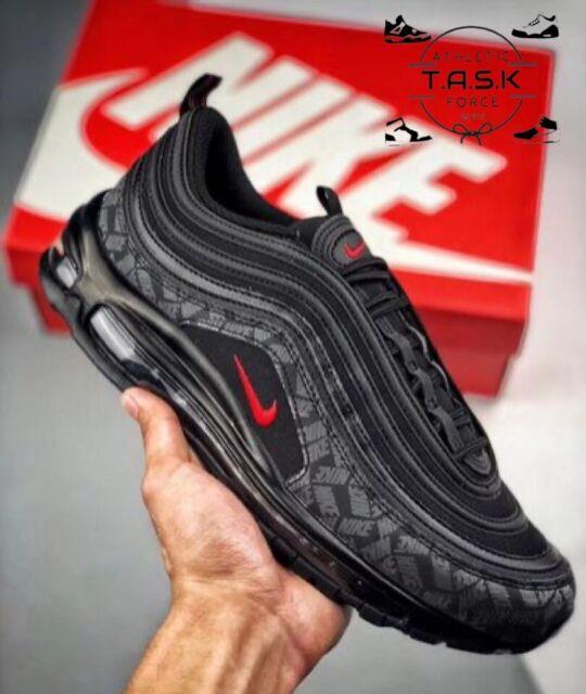 100 Nike Air Max 97 Og Black Red Reflective Logo Sz 8 Rare Ar4259