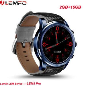 LEMFO LEM5Pro Bluetooth 3G SIM Reloj Inteligente 16GB Teléfono WiFi GPS iOS Moto