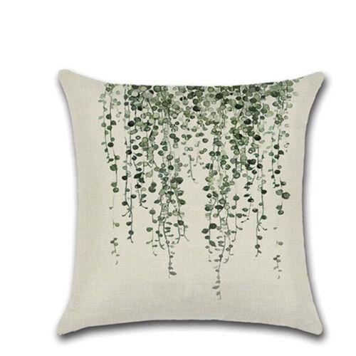 Fashion Cushion Cover Fern Leaf Design Linen Cotton Bedroom Decorative Pillow LH