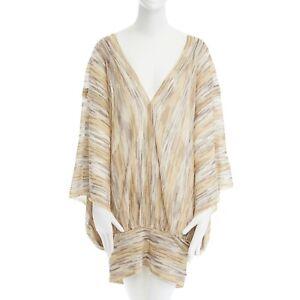 MISSONI-MARE-metallic-gold-stripe-plunge-neck-batwing-poncho-dress-M