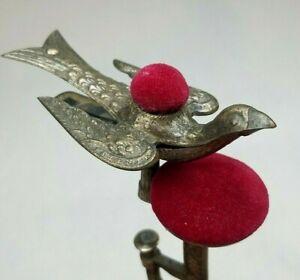 Antique-Victorian-Sewing-Bird-034-Third-Hand-034-Clamp-w-Red-Velvet-Dual-Pincushion
