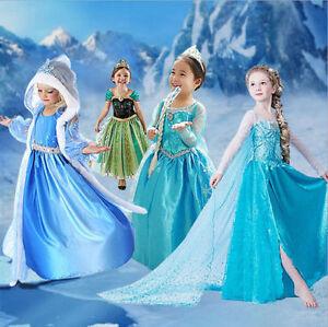 Neuf-Frozen-Anna-Elsa-Enfant-Fille-Robe-Deguisement-Costume-La-Reine-des-Neiges