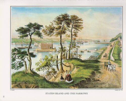 """1972 Vintage Currier /& Ives /""""STATEN ISLAND /& THE NARROWS/"""" Color Print Lithograph"""