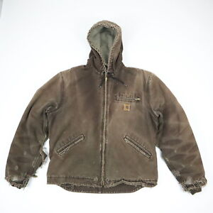 Destroyed-Sun-Faded-Distressed-Carhartt-Hooded-Jacket-Grunge-Workwear-Brown-L