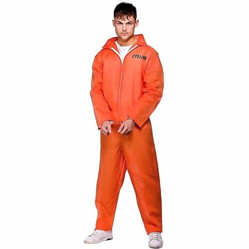 Adult ORANGE CONVICT Inmate Prisoner Fancy Dress Costume Mens Jail Boiler Suit