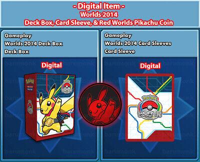 Pokemon Worlds 2014 Digital Gameplay for PTCGO Deckbox Sleeves Coin Fast Trade