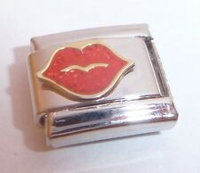 RED GLITTER LIPS Italian Charm KISS Love 9mm fits Classic Starter Bracelets N232