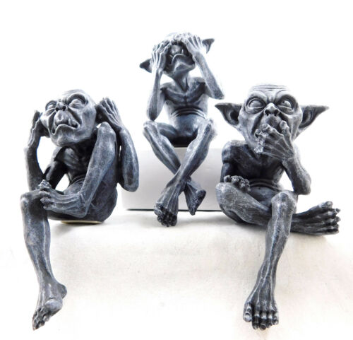 Three Wise Goblins Pixies Figurine Shelf Sitting Goblin Ornament Pixie Figure