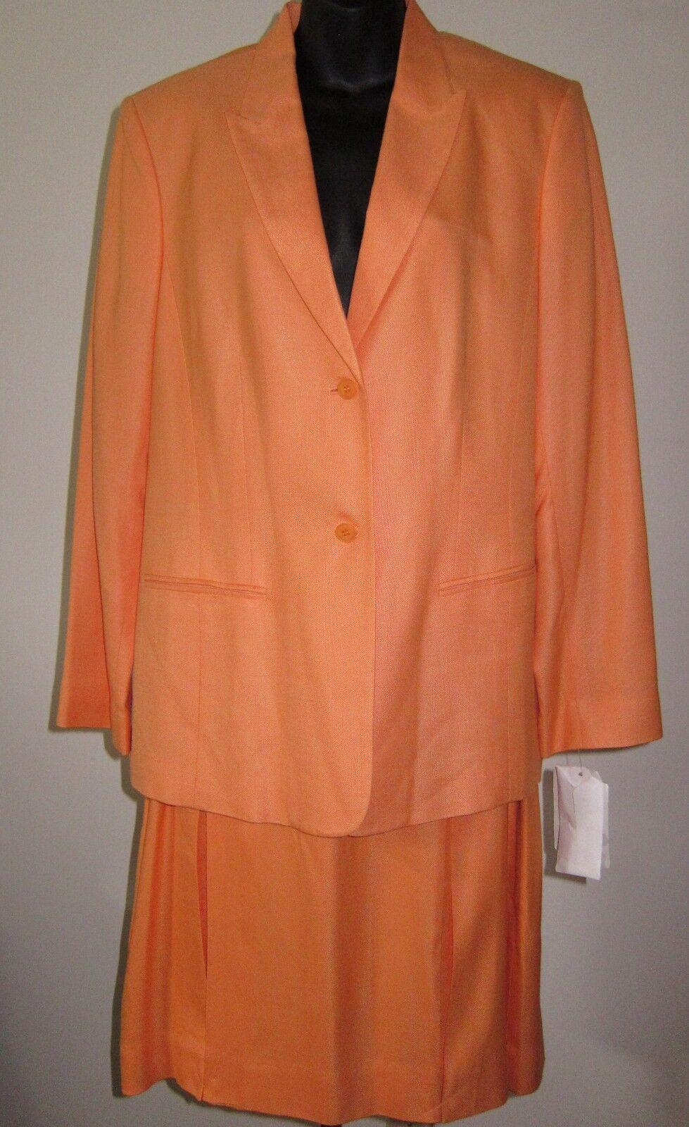 Sz 12 Blazer 16 kjol Ny Liz Claiborne 2 Bit 2 knapp Gör orange Sherbet