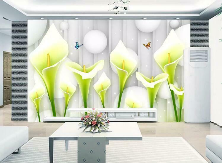3D Calla Lily N1458 Wallpaper Wall Mural Removable Self-adhesive Sticker Amy