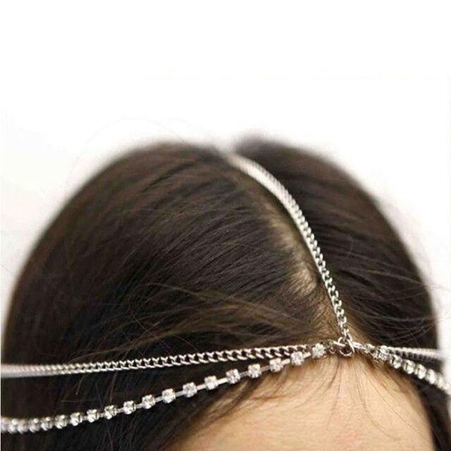 Womens Fashion Metal Rhinestone Head Chain Jewelry Headband Head Piece Hair band