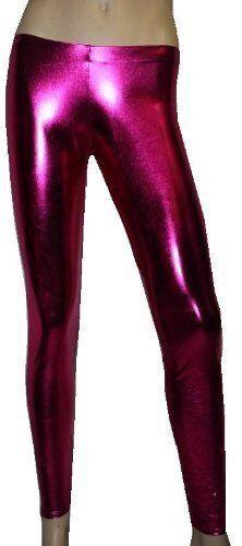 Metallico WetLook PVC grasso Leggings Pants FANCY DRESS Dance Wear CLUBBING RAVE