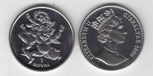 1 ROYAL UNC COIN 2001 YEAR KM#900 2 CHERUBS GIBRALTAR