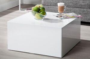 Details zu Couchtisch hochglanz weiß modern Sofatisch MONOLIT 50cm  Wohnzimmer Sofatisch