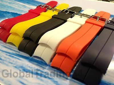 HIGHEST QUALITY CURVED END PU RUBBER DIVE WATCH STRAP 20mm, 22mm ROTARY STYLE