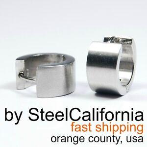 Image Is Loading Mens Silver Earrings Bold Huggie Hoop For