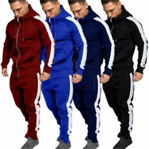 Men Tracksuits Sets Hoodie Tops Coat Bottoms Trousers Long Pants Gym Jogging UK