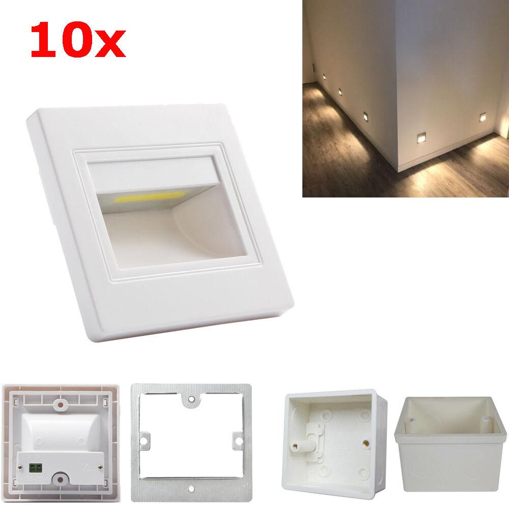10er 2,5W LED Wand Treppenbeleuchtung Stufenlicht Mauer Leuchte 230V mit Dosen