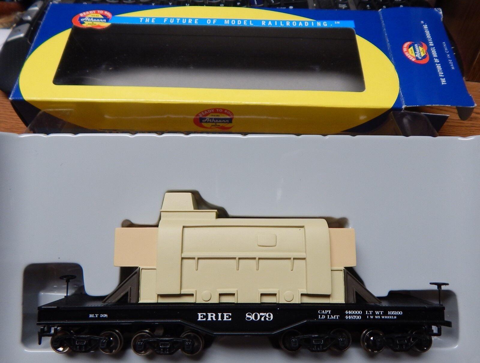 ATHEARN 92242 ERIE HEAVY DUTY FLAT CAR W LOAD USED IN BOX HO SCALE NICE