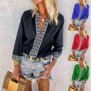 Women-National-Style-Off-Shoulder-Beach-Trumpet-Sleeves-Top-Blouse-Casual-V-Neck