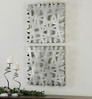 Uttermost 07676 Alita Squares Wall Art in Bright Silver Leaf Set of 2 Home Furnishings
