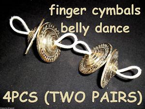 BELLY DANCE ZILLS 2 FINGER CYMBALS HAND MADE ENGRAVED BRASS 4 PCS