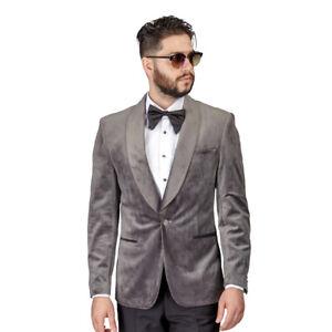 13e5ae1d89e8 Tuxedo Jacket Mens Slim Fit Grey Velvet Dinner Blazer Shawl Lapel 1 ...