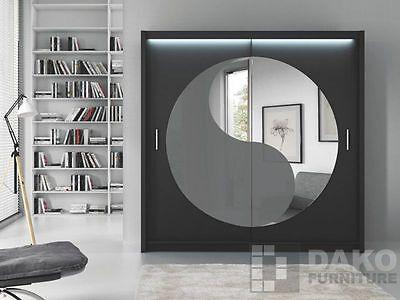 Bedroom Sliding Door Wardrobe Mirror LOTOS Black-White-Sonoma+LED 6.6ft / 203cm