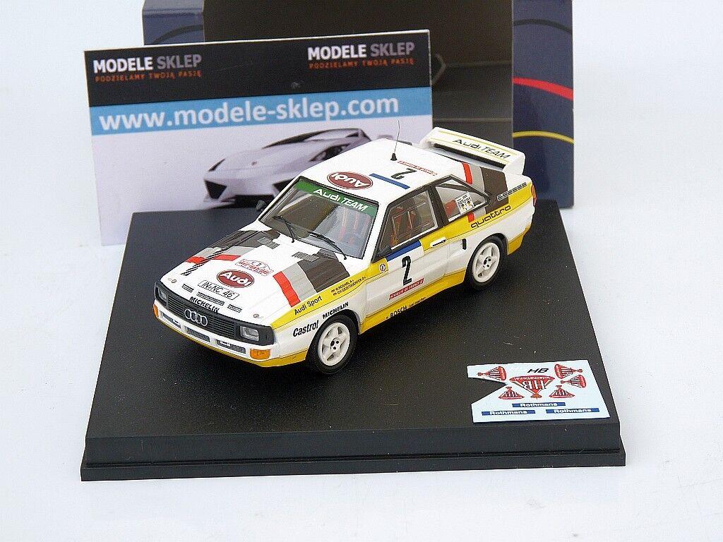 Trofeu 2801 Audi Sport Quattro Tour de Corse Corse Corse  2 1984-Walter Rohrl 1 43 Escala c44f8b