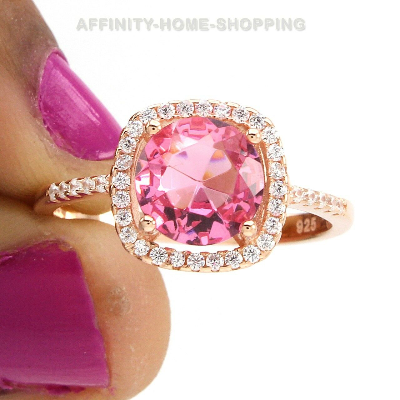 Round Pink Sapphire And White CZ 14k pink gold Over Halo Engagement Ring