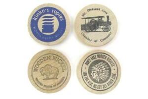 Lot-of-4-Vintage-Wooden-Nickels-Tokens-Advertising-Kinko-039-s-Mt-Pleasant-U-S