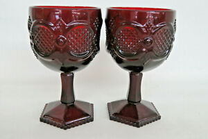 Avon-Cape-Cod-Ruby-Red-Glass-Pair-of-Wine-Water-Goblets-1017B