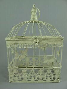 Antico Decorazione Gabbia per Uccelli IN Metallo Piante Fiori Shabby-Chic (M)