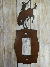 Cowboy rodeo horse rider metal light switch decorator plate cover home ranch NEW