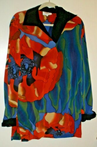 Silkscapes Multi-colored Silk Long Sleeve Pullover