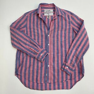 Frank-amp-Eileen-Button-Up-Shirt-Mens-Small-Salmon-Blue-Stripe-Long-Sleeve-Casual