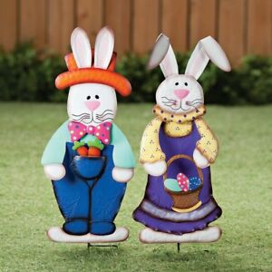 Outdoor Easter Stake Yard Metal Bunny Boy And Girl Ornaments Garden