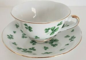Lefton-Clover-Tea-Cup-and-Saucer-3083-With-Label-White-Green-Gold-Trim