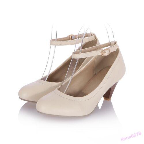 2018 Spring Sweet Women/'s Mid Kitten Heel Shoes Pumps Round Toe Buckle Casual