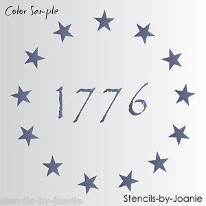 Joanie Stencil 9 America Stars Patriotic Circle 1776 Prim Betsy