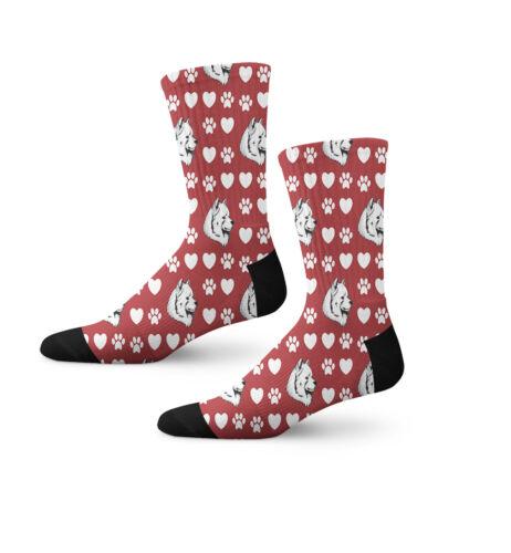 Samoyed Dog Red Paw Heart Fun Cool Novelty 7 in Men Women Socks