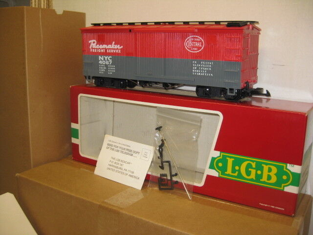 LGB F01 New York Central Woodside Boxcar Factory New ,G Gauge.