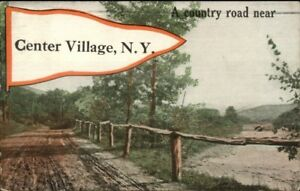 Center-Village-NY-Pennant-Greeting-c1910-Postcard